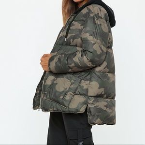 Khaki Camo Longline Puffer Jacket. NWOT